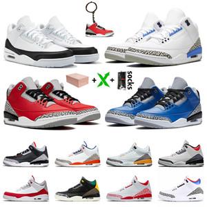 2020 con la scatola Jumpman 3 3s di pallacanestro del Mens scarpe di rasoGiordaniaRetro UNC Frammento Red Cemento squadra di college reale Mens Sneaker Sneakers