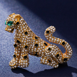 High-end quality leopard print suit men&#39s and women&#39s jacket brooch rhinestone zircon alloy accessories meow sweater pin couple gift