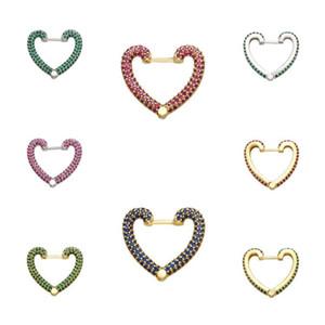 Hecheng 1pc coração amor brinco atacado Multicolor pequeno Hoop Brincos CZ Para Mulheres Jóias VE164