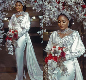 Arabic Plus Size Wedding Dresses Aso Ebi Lace Appliqued Long Sleeve Bridal Gowns Ribbon Satin Side Splits vestido de novia