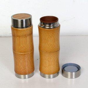 10 once in acciaio inox thermo tazza di bambù tazze di caffè ceramica tazza da tè bamboo bottiglie d'acqua di bambù all'aperto viaggio auto tazza drinkware regalo DBC VT1003