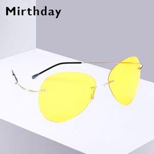 Mirthday 100% Pure Titanium Rimless Sunglasses Men Polarized Screwless Frameless Ultra Light Hingeless Sun Glasses Night Vision