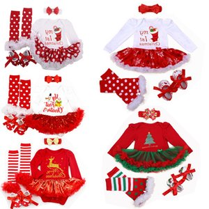 New My First Christmas Clothes Newborn Xmas Reindeer Costumes Baby Tutu Romper Lace Girl Dress Shoes 4pcs Clothing Set