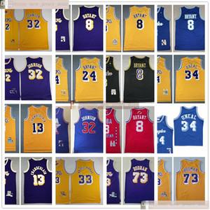 Basket-ball de rétro Kareem Johnson 32 33 Abdul Jabbar Maillots piqué par Dennis 13 Chamberlains 73 Rodman Shaquille O'Neal 34 maillots
