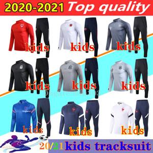 20 21 국가 대표팀 스페인 아르헨티나 키즈 축구 자켓 훈련 정장 2020 2021 샹들리얼 웨일즈 벨기에 소년 축구 Tracksuit 조깅