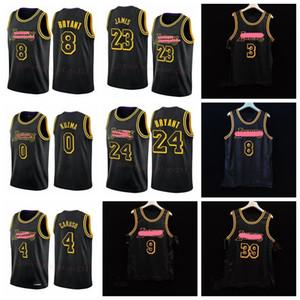 Los AngelesLakersKobeBryantAnthonyDavisNBA LeBron James Alex Caruso Black Mamba Città di pallacanestro nero Jersey