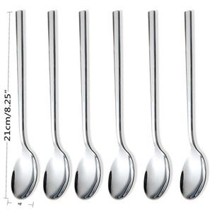 Eco-Friendly 6pcs Aço Inoxidável Jantar Spoons Cabo longo Colher de Chá Café Leite Chá Spoons coreana Rodada Soup Sobremesa Tea Spoons AHE2498
