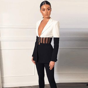 Ocstrade Fall Clothes for Women Two Piece Set Runway 2020 Sexy Black and White 2 Piece Set Suit Blazer and Pants Party Outfits