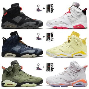 retro 6 6s travis scott Top Quality Men scarpe da basket 6 6s Hare rasoGiordaniaRetro Travis denim lavato Jumpman FLOREALE Scarpe da ginnastica Sport Sneakers 36-47