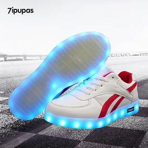 7ipupas vermelho sarja cesta iluminar as sapatilhas menino menina sapatos LED Schoenen casual garoto homme luminous sneakers unisex chaussures 201112
