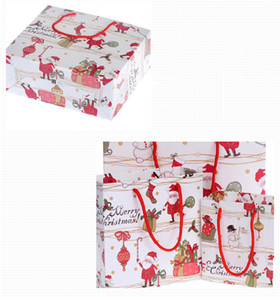 Christmas Kraft Paper Gift Bags With Handle For Food Cookies Packaging Bag Candy Bag Event Party Supplies