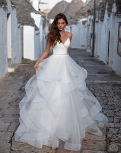 2021 Custom Made Elegant Tiers Real Sample White Tulle Spaghetti Strap Ball Gown Ruffles Beaded Wedding Dresses