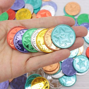 100pcs Pirate gold coin seven color lucky coin wish plastic props Christmas event game treasure gold coin