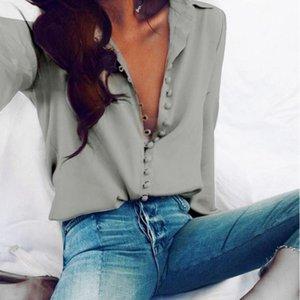 CROPKOP moda oficina de las señoras del color sólido de las tapas ocasionales Botones Sexy manga larga blusa 2020 nueva gasa de las mujeres del resorte camisa blanca