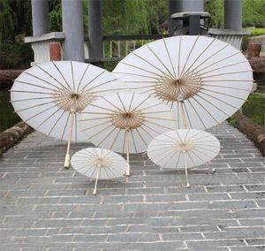 Parasoles de boda nupcial Papel blanco Paraguas Chino Mini Artesanía Paraguas 4 Diámetro: 20,30,40,60cm Paraguas de la decoración de la boda para al por mayor