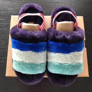 Hor Sale-Blue Fluff Yeah Slide Pantoufle Women's Furry Sandals FurSlipper Hausschuhe Famous Luxury Pantoufles de Designer Women Slipper