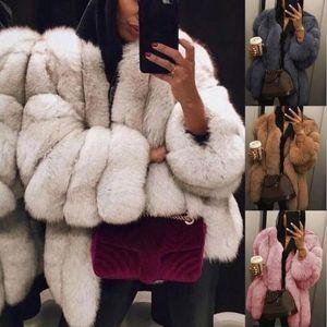 Hermosa chica mujer imitación piel de piel manga larga femenina cálida nuevo invierno más tamaño 3xl 4xl Fox abrigo de piel