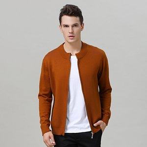 Attyyws hiver nouveau collier à mi-hauteur glissière à glissière cardigan veste en cachemire en tricot chaud couleur solide