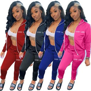 Europe and America hot 2020 Autumn And Winterhot selling sexy fashion Long sleeve letter embroidered zipper sports suit