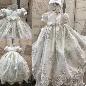 Платья девушки 2021 роскошные выплаты для роскошных бисеров для детских девочек кружева 3D цветы аппликационные жемчужины крещение с капотом первая коммуникация