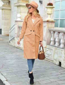 Multi Pocket Thick Ladies Blends Jackets Casual Female Slim Outerwear Winter Womens Long Wool Coats Lapel Neck Solid Color