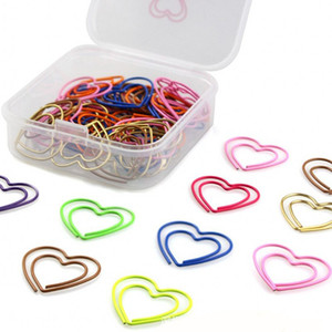 Bulk 50pcs set Love Heart Shaped Paper Clips Bookmark Clips for Office School Home mixed colors