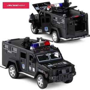 Neue 1:32 Polizei Swat Anti-Hijacking Gepanzerte Fahrzeug-Lkw-Legierung Auto-Modell mit musikalischem Blinker Zurück für Babyspielzeug Y200109