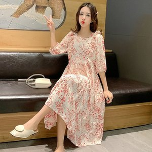 9055# Maternity Clothes Summer Chiffon Floral Dress Short Sleeve Loose Stylish Dress for Pregnant Women Mom dbRL#
