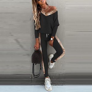 Plus Size Sequined V-neck Sweatshirt Jogger Sweatpant Women Two Pieces Set Oversize Pullover Long Sleeve Top Winter Clothes Y2k