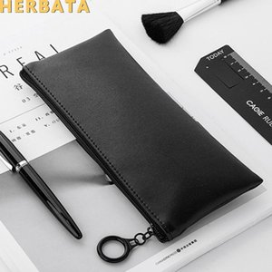 Simple Black and White Leather School Supplies Large Capacity Pencil Case Portable Pencil Case Zipper Bag Office0