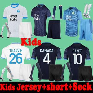 20 21 niños niños niño Olympique de Marsella Soccer Jerseys + Shorts + Socks 2020 2021 Enfants Om Kamara Lopez Camisetas de fútbol Juego Uniforme