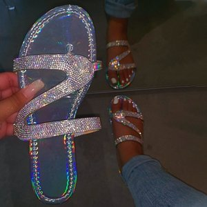 Tino Kino Mujeres Crystal Bling Bling Abre Toe Slippers Slip on Flat Femen Out Floor Flobs Casual Slides Fashion Summer Beach Zapatos Y200628