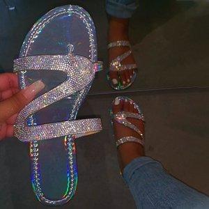 Tino Kino Kadınlar Kristal Bling Açık Toe Terlik Düz Kadın Dış Flip Flop Rahat Slaytlar Moda Yaz Plaj Ayakkabı Y200628