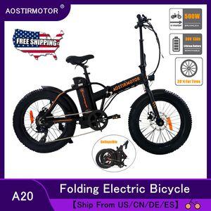 AOSTIRMOTOR Электрический велосипед 36V 500W горный велосипед Snow Bike Складной Ebike Электрический велосипед 4,0 Fat Tire Ebike литиевая батарея