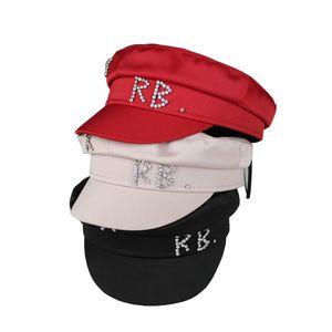 Simple Rhinestone RB Sombrero Mujeres Men Street Estilo de moda Newsboy Hats Booms Black Berets Plano Top Caps Men Drop Gap Cap 20113