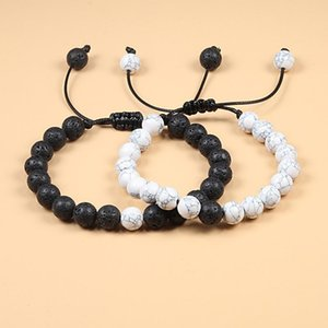 Braided Rope Couple Set Bracelet Black White Beaded Natural Tiger Eye Lava Stone Bracelets Charm Jewelry Gifts for Bets Friends