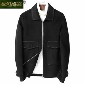 Зима 2021 марка куртка шерстяное пальто мужчины Casaco Masculino корейская мода теплые короткие шерстяные пальто осенью тканью давка 81Z8801