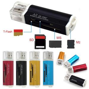4 Dans Wholesales 1 USB 2.0 Lighter forme lecteur de carte en alliage d'aluminium Shell carte mémoire haute vitesse Lecteur portable