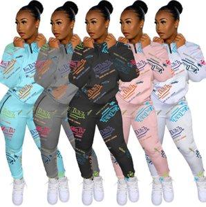 Kadın Eşofman Mektubu Baskılı Iki Parça Kıyafetler Tasarımcı Giysileri 2021 Fermuar Hırka Uzun Kollu Pantolon Bayanlar 2 Parça Jogger Setleri