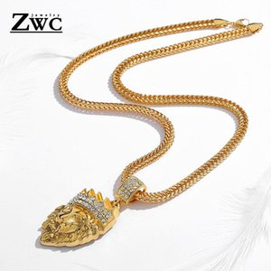 Pendant Necklaces ZWC Charm Fashion Crown Lion Necklace For Women Men Wedding Party Upscale Romantic Crystal Inlay Jewelry