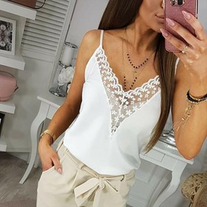 Womens Summer Strappy Lace Vest Top Sleeveless Shirt Blouse Ladies Solid Casual V neck Loose Tank Tops New