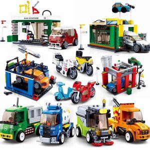 Sluban car garbage truck model wash sets building blocks bricks kids toy gas repair station city super great vehicle motorbike