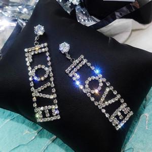 S925 Luxury Shiny LOVE Letter Big Crystal Drop Earrings Gold Silver Color Rhinestone Dangle Earrings for Women Wedding Party Jewelry Gift