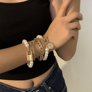 4 Pcs Set Classical Hip Hop Bracelets Gold Silver Plated Imitation Pearl Bangle Bracelet Set Exquisite Women Accessories Jewelry