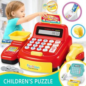 Çocuklar Oyuncak Simüle Kayıt Süpermarket Nakit Bulmaca Play House Electric Light Fonksiyonlu Kız Ebeveyn-çocuk Oyuncak Hediye Pretend
