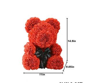 40cm Lovely Bear Of Roses With Led Gift Box Teddy Bear Rose Soap Foam Flower Artificial New Year Gifts For Valentine's Day Gift bbyqkCz