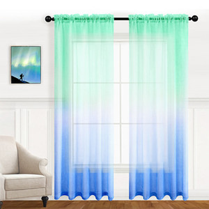 Faux Linen Ombre Sheer Curtains for Bedroom Girls Room Decor, Two Tone Curtain Drapes Light Filtering Semi Gradient Rod Pocket Window Panels