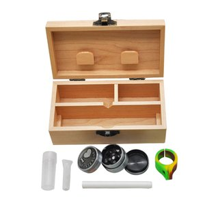 Tobacco Pipes Set Wooden Stash Box Case With Herb Rolling Tray Metal Herb Grinder Glass Mouth Tips One Hitter Pipe Portable