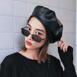 jiangxihuitian 브랜드 패션 봄과 가을 들어 PU 가죽 베레모 모자 여성 모자 여성 여성 비니 베레모 여자 펠트