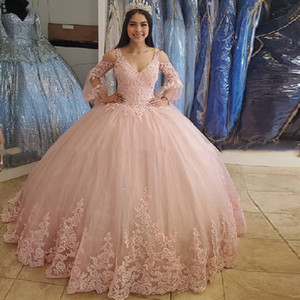 2021 New Princess Pink V-Neck Ball Gown Quinceanera Dresses Long Sleeve Appliques Sweet 16 Dress Debutante Prom Party Dress Custom Made 38
